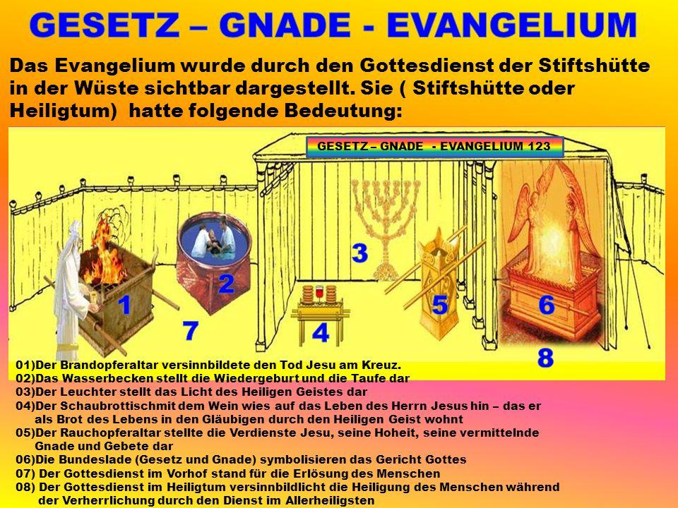 Das Evangelium wurde durch den Gottesdienst der Stiftshütte in der Wüste sichtbar dargestellt.