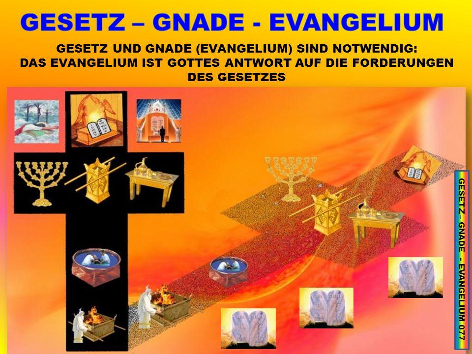 GESETZ UND GNADE (EVANGELIUM) SIND NOTWENDIG: DAS EVANGELIUM IST GOTTES ANTWORT AUF DIE FORDERUNGEN DES GESETZES GESETZ – GNADE - EVANGELIUM 077
