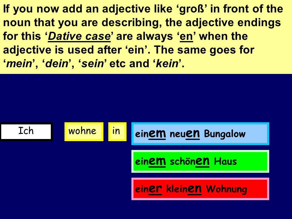 Mein Bungalow ist groß When you describe where you live, a sound change occurs after the preposition in. This sound change is called the Dative. Have