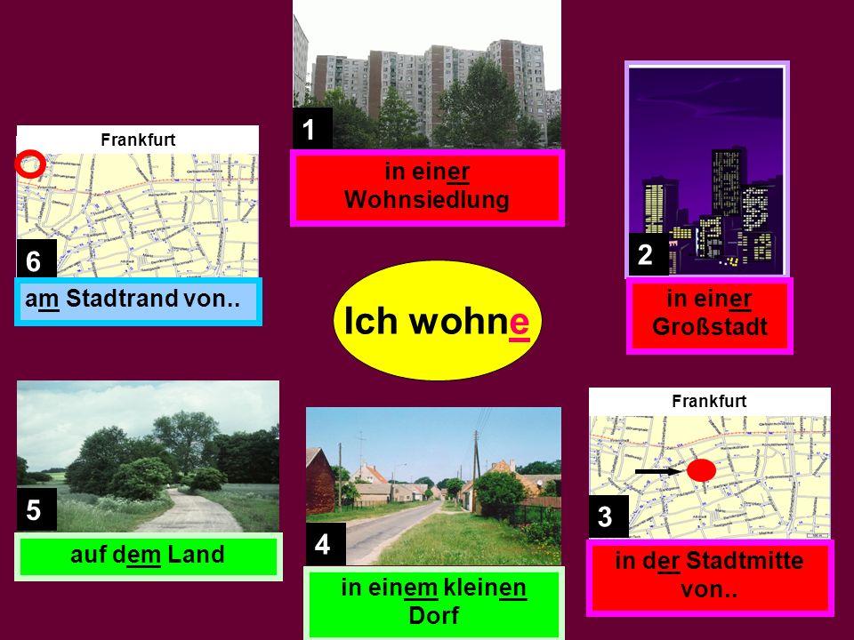 1. Ich wohne in _____ schön___ Reihenhaus. 2. Meine Großeltern wohnen in _____ alt___ Wohnung.