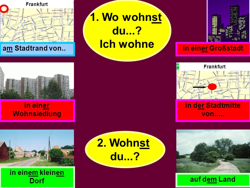 1. Jetzt macht ein Interview in Gruppen. Fragt: 2. A picks one of the locations. B tries to guess which one it is. B: Wohnst du in einer Stadt? A: Nei
