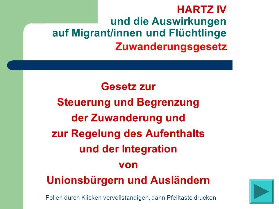Gesetz zur Steuerung und Begrenzung der Zuwanderung und zur Regelung des Aufenthalts und der Integration von Unionsbürgern und Ausländern Zuwanderungs