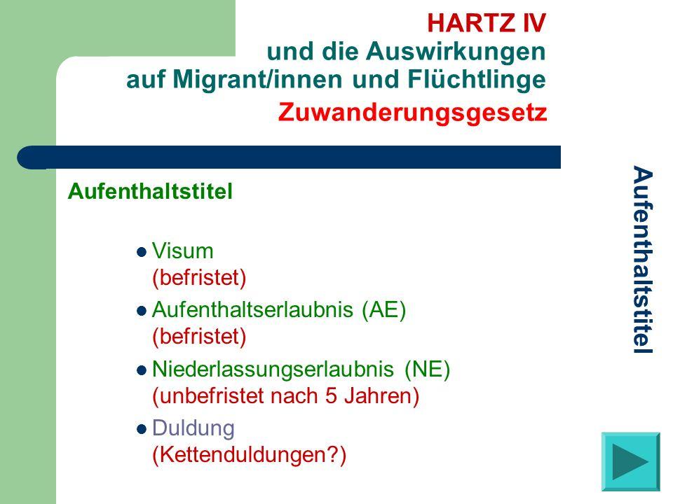 Aufenthaltstitel Visum (befristet) Aufenthaltserlaubnis (AE) (befristet) Niederlassungserlaubnis (NE) (unbefristet nach 5 Jahren) Duldung (Kettenduldu