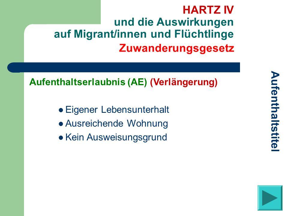 Zuwanderungsgesetz Aufenthaltstitel HARTZ IV und die Auswirkungen auf Migrant/innen und Flüchtlinge Aufenthaltserlaubnis (AE) (Verlängerung) Eigener L