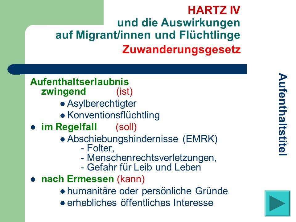 Aufenthaltserlaubnis zwingend (ist) Asylberechtigter Konventionsflüchtling im Regelfall (soll) Abschiebungshindernisse (EMRK) - Folter, - Menschenrech
