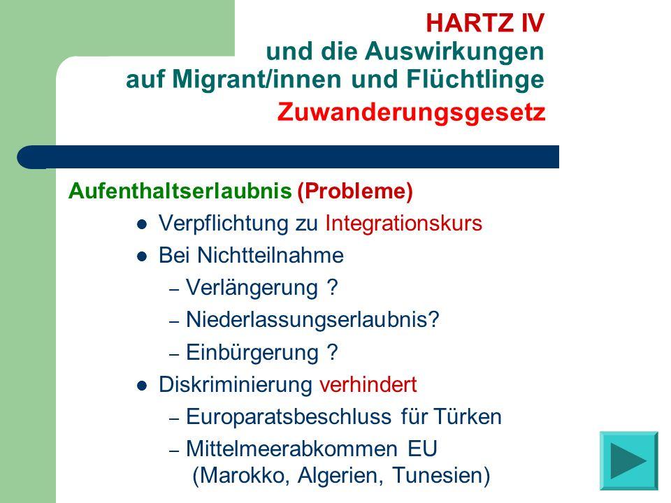 Aufenthaltserlaubnis (Probleme) Verpflichtung zu Integrationskurs Bei Nichtteilnahme – Verlängerung ? – Niederlassungserlaubnis? – Einbürgerung ? Disk