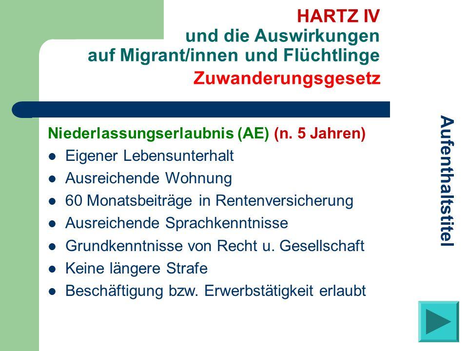 Zuwanderungsgesetz Aufenthaltstitel HARTZ IV und die Auswirkungen auf Migrant/innen und Flüchtlinge Niederlassungserlaubnis (AE) (n. 5 Jahren) Eigener