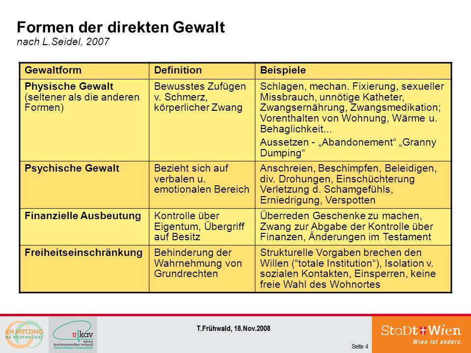 Seite 4 T.Frühwald, 18.Nov.2008 Seite 4 T.Frühwald, 18.Nov.2008 Formen der direkten Gewalt nach L.Seidel, 2007 GewaltformDefinitionBeispiele Physische