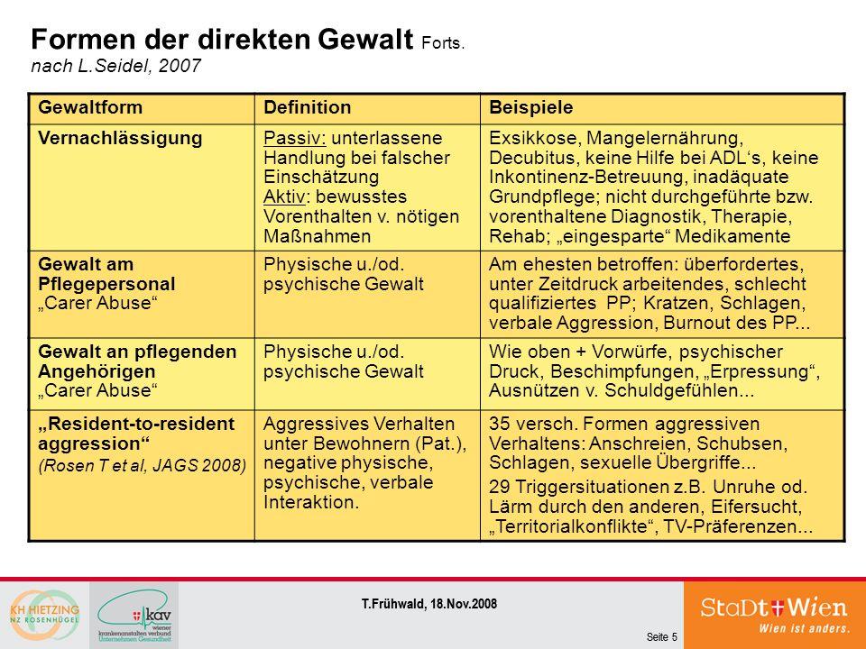 Seite 5 T.Frühwald, 18.Nov.2008 Seite 5 T.Frühwald, 18.Nov.2008 Formen der direkten Gewalt Forts. nach L.Seidel, 2007 GewaltformDefinitionBeispiele Ve