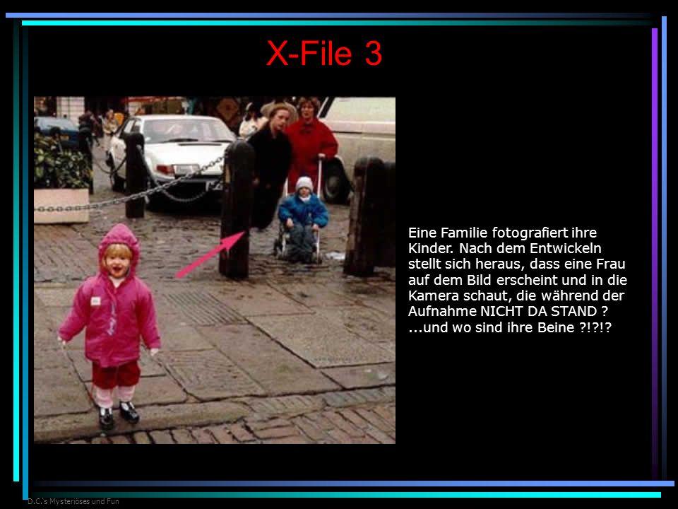 D.C.s Mysteriöses und Fun X-File 3 Eine Familie fotografiert ihre Kinder. Nach dem Entwickeln stellt sich heraus, dass eine Frau auf dem Bild erschein