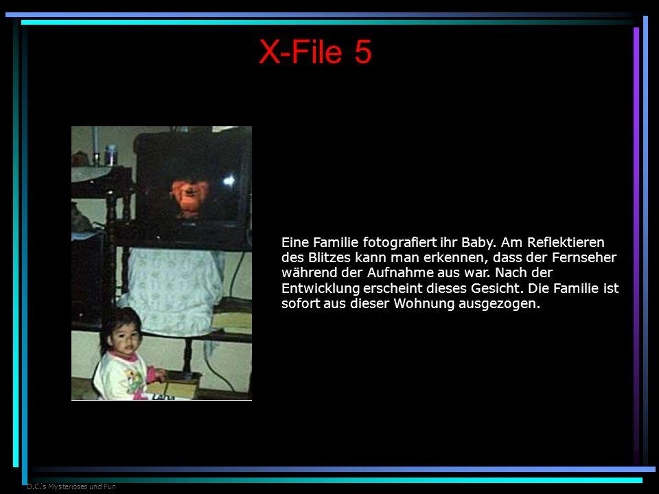 D.C.s Mysteriöses und Fun X-File 5 Eine Familie fotografiert ihr Baby. Am Reflektieren des Blitzes kann man erkennen, dass der Fernseher während der A