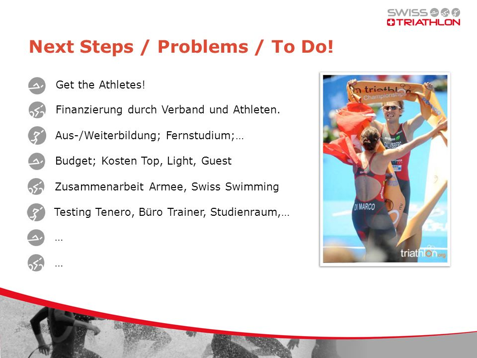Next Steps / Problems / To Do. Get the Athletes. Finanzierung durch Verband und Athleten.