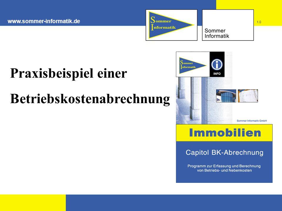 www.sommer-informatik.de Praxisbeispiel einer Betriebskostenabrechnung 1.0