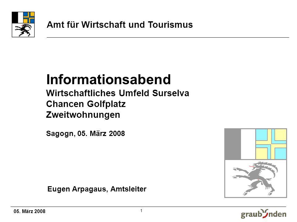 Amt für Wirtschaft und Tourismus 05. März 2008 1 Informationsabend Wirtschaftliches Umfeld Surselva Chancen Golfplatz Zweitwohnungen Sagogn, 05. März