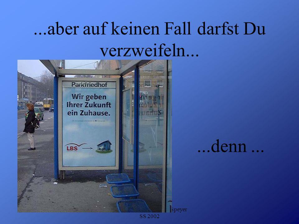 Detlef Krasemann DHV Speyer SS 2002...aber auf keinen Fall darfst Du verzweifeln......denn...