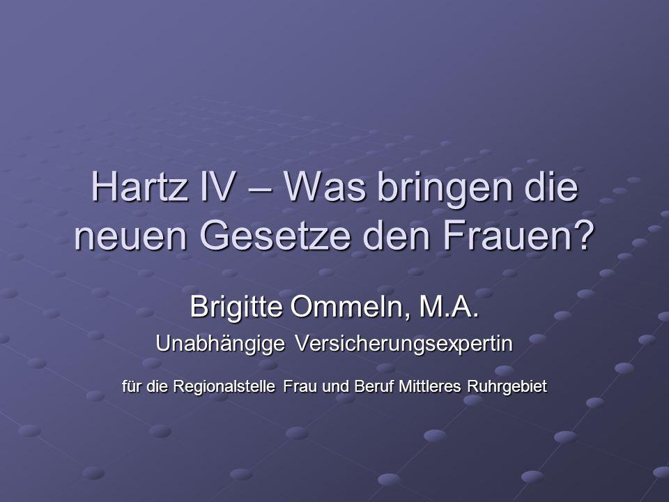 Hartz IV – Was bringen die neuen Gesetze den Frauen? Brigitte Ommeln, M.A. Unabhängige Versicherungsexpertin für die Regionalstelle Frau und Beruf Mit