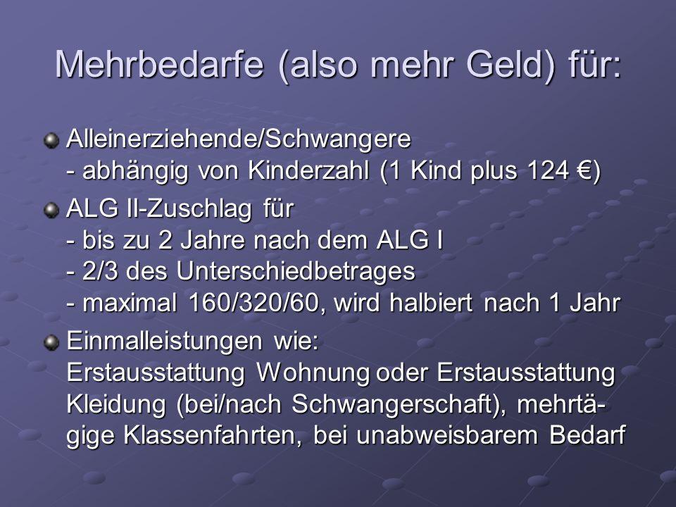 Mehrbedarfe (also mehr Geld) für: Alleinerziehende/Schwangere - abhängig von Kinderzahl (1 Kind plus 124 ) ALG II-Zuschlag für - bis zu 2 Jahre nach d