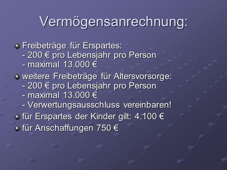 Vermögensanrechnung: Freibeträge für Erspartes: - 200 pro Lebensjahr pro Person - maximal 13.000 Freibeträge für Erspartes: - 200 pro Lebensjahr pro P