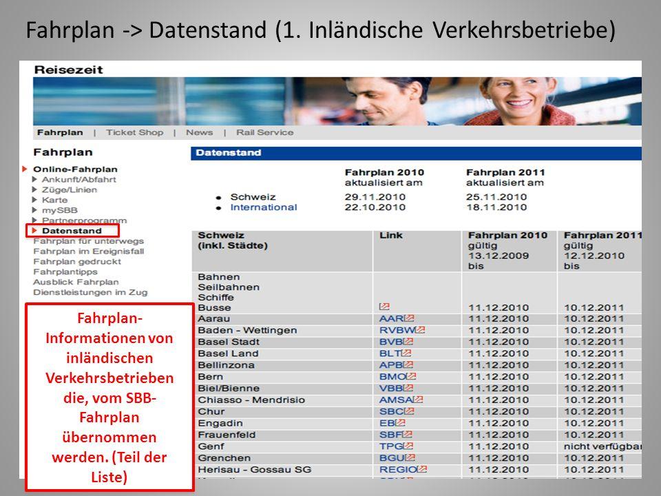 Fahrplan -> Datenstand (1.