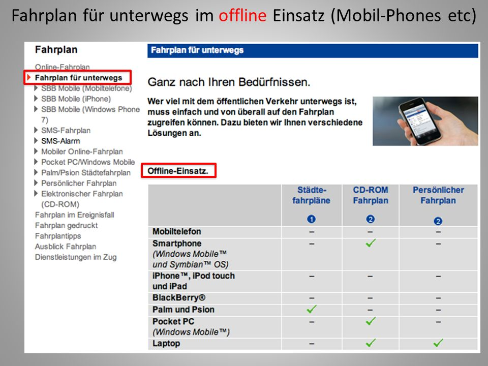 Fahrplan für unterwegs im offline Einsatz (Mobil-Phones etc)