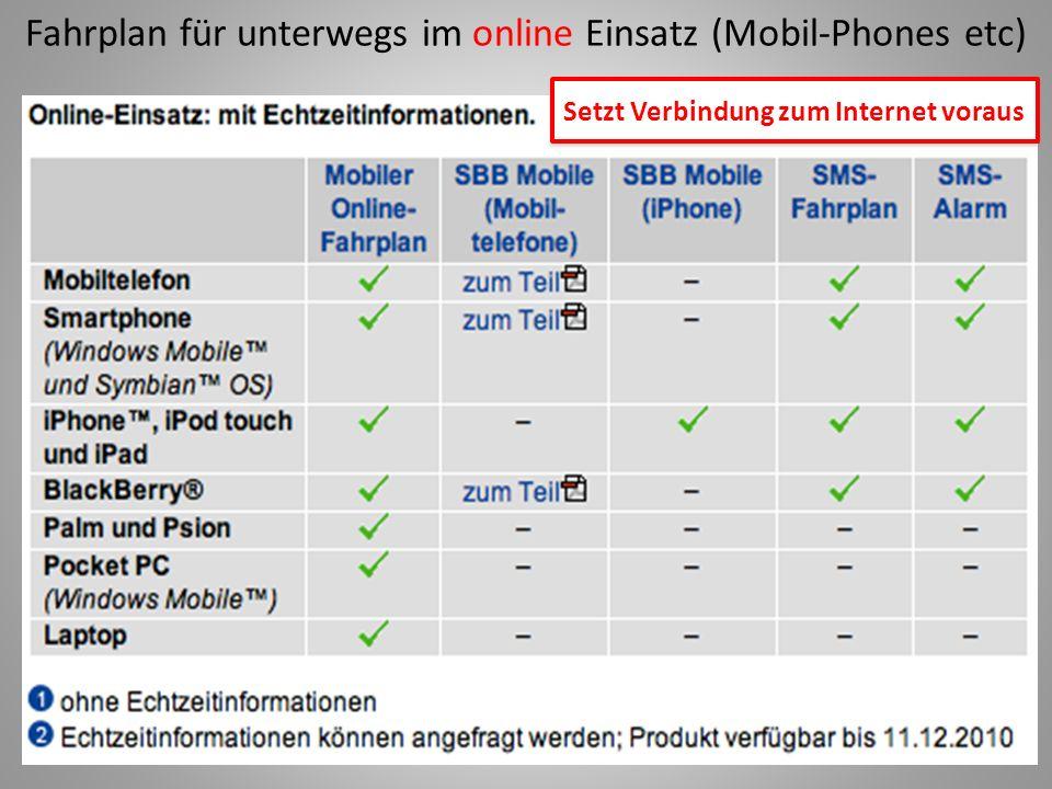 Fahrplan für unterwegs im online Einsatz (Mobil-Phones etc) Setzt Verbindung zum Internet voraus