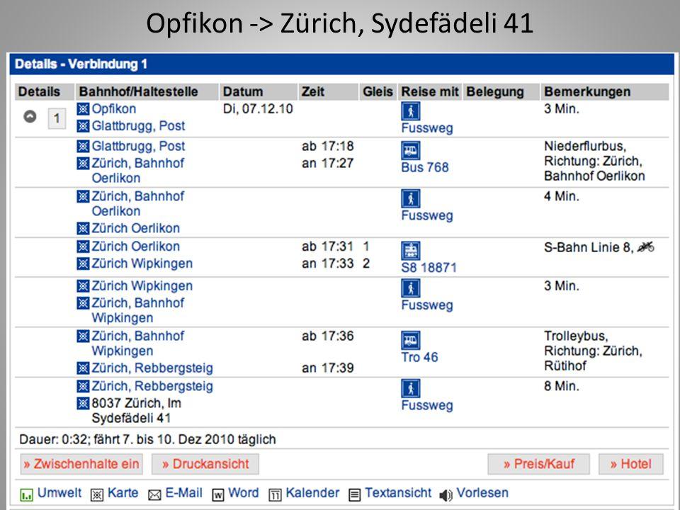 Opfikon -> Zürich, Sydefädeli 41