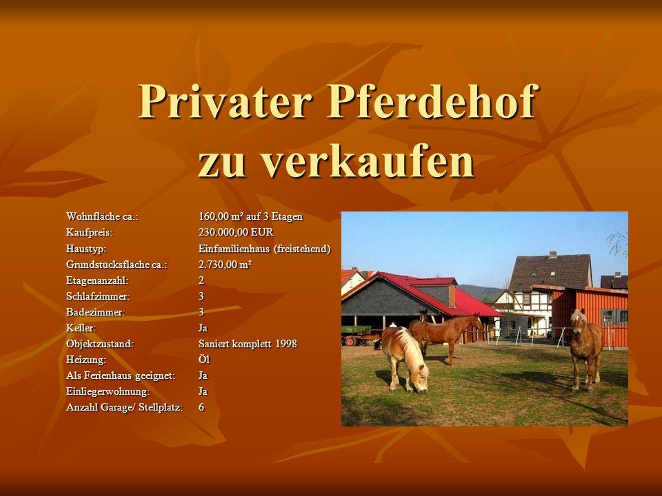 Privater Pferdehof zu verkaufen Wohnfläche ca.:160,00 m² auf 3 Etagen Kaufpreis:230.000,00 EUR Haustyp:Einfamilienhaus (freistehend) Grundstücksfläche ca.:2.730,00 m² Etagenanzahl:2 Schlafzimmer:3 Badezimmer:3 Keller:Ja Objektzustand:Saniert komplett 1998 Heizung:Öl Als Ferienhaus geeignet:Ja Einliegerwohnung:Ja Anzahl Garage/ Stellplatz:6