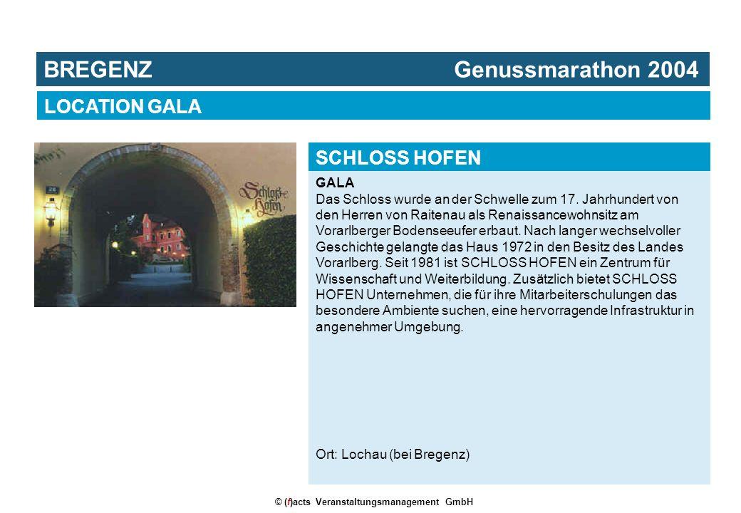 © (f)acts Veranstaltungsmanagement GmbH GALA Das Schloss wurde an der Schwelle zum 17. Jahrhundert von den Herren von Raitenau als Renaissancewohnsitz