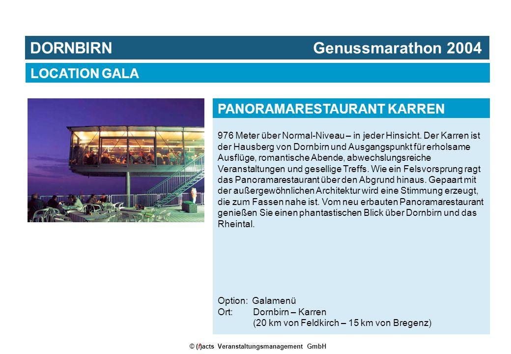 © (f)acts Veranstaltungsmanagement GmbH 976 Meter über Normal-Niveau – in jeder Hinsicht. Der Karren ist der Hausberg von Dornbirn und Ausgangspunkt f