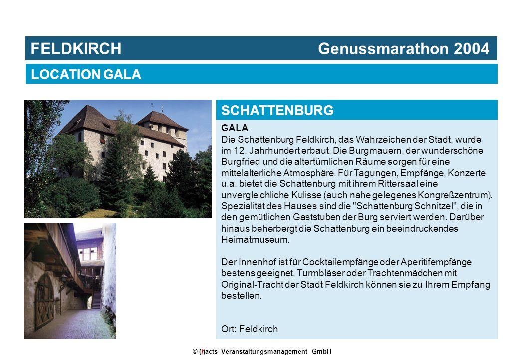 © (f)acts Veranstaltungsmanagement GmbH GALA Die Schattenburg Feldkirch, das Wahrzeichen der Stadt, wurde im 12. Jahrhundert erbaut. Die Burgmauern, d