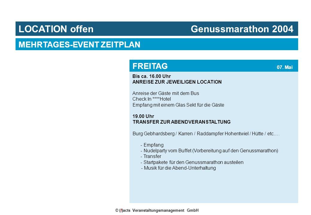 © (f)acts Veranstaltungsmanagement GmbH Bis ca. 16.00 Uhr ANREISE ZUR JEWEILIGEN LOCATION Anreise der Gäste mit dem Bus Check In ****Hotel Empfang mit