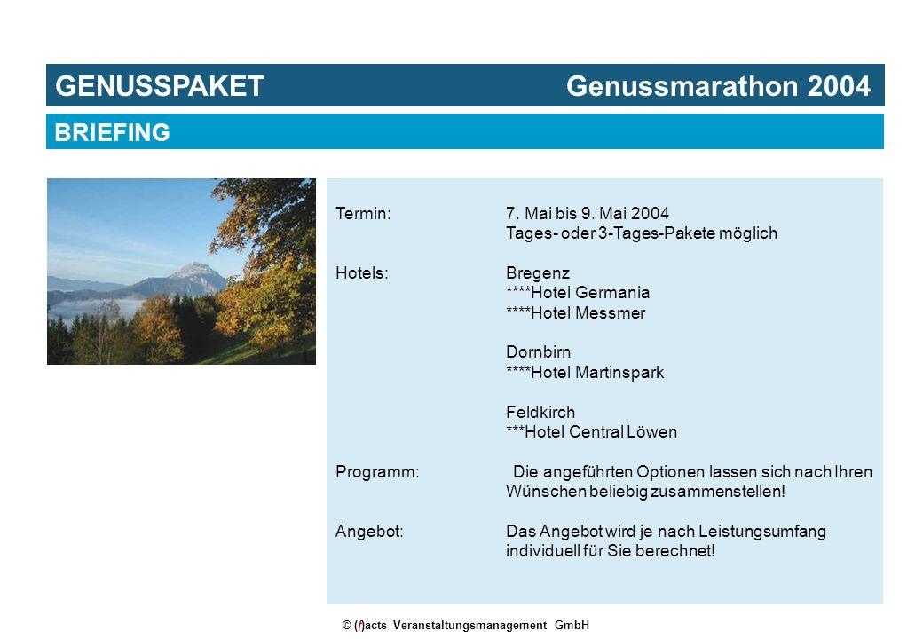 © (f)acts Veranstaltungsmanagement GmbH Termin:7. Mai bis 9. Mai 2004 Tages- oder 3-Tages-Pakete möglich Hotels:Bregenz ****Hotel Germania ****Hotel M