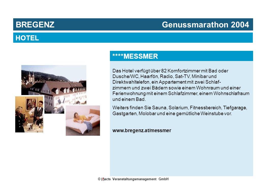 © (f)acts Veranstaltungsmanagement GmbH Das Hotel verfügt über 82 Komfortzimmer mit Bad oder Dusche/WC, Haarfön, Radio, Sat-TV, Minibar und Direktwahltelefon, ein Appartement mit zwei Schlaf- zimmern und zwei Bädern sowie einem Wohnraum und einer Ferienwohnung mit einem Schlafzimmer, einem Wohnschlafraum und einem Bad.
