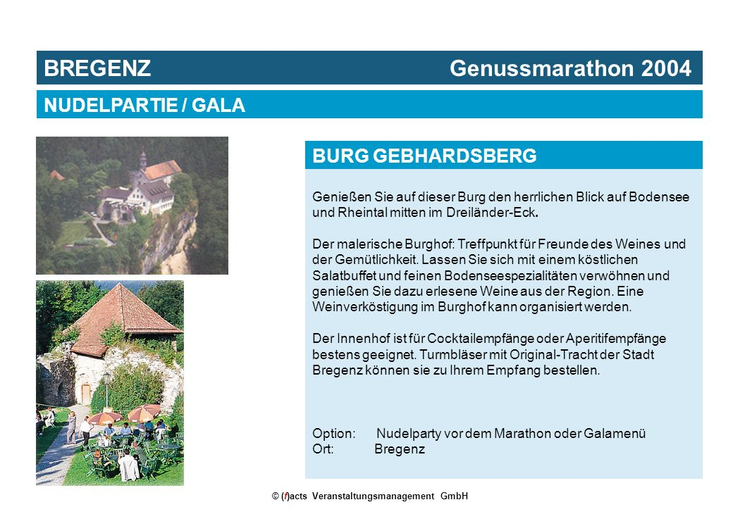 BREGENZ Genussmarathon 2004 © (f)acts Veranstaltungsmanagement GmbH Genießen Sie auf dieser Burg den herrlichen Blick auf Bodensee und Rheintal mitten im Dreiländer-Eck.