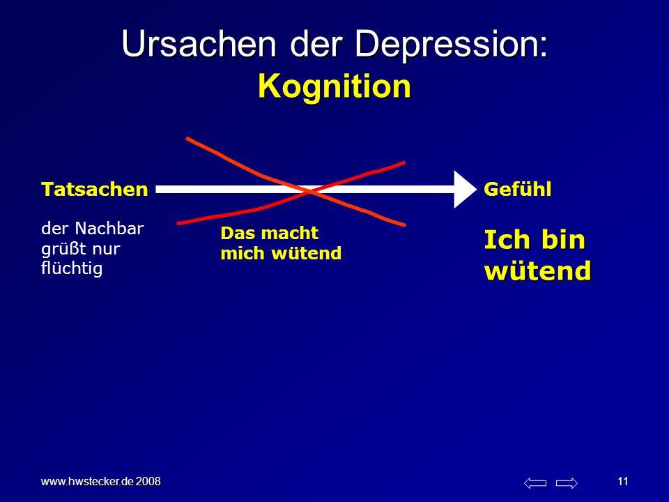 www.hwstecker.de 2008 11 Ursachen der Depression: Kognition TatsachenGefühl der Nachbar grüßt nur flüchtig Ich bin wütend Das macht mich wütend