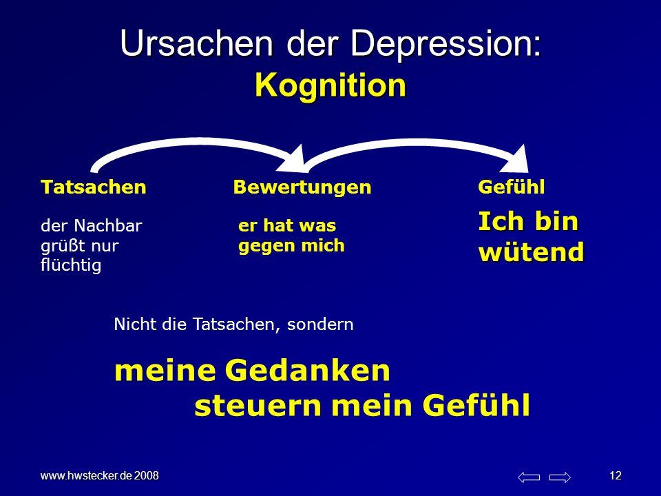 www.hwstecker.de 2008 12 Ursachen der Depression: Kognition TatsachenBewertungenGefühl der Nachbar grüßt nur flüchtig er hat was gegen mich Nicht die