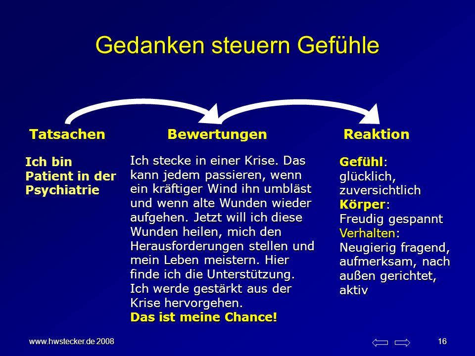 www.hwstecker.de 2008 16 Gedanken steuern Gefühle TatsachenBewertungenReaktion Ich stecke in einer Krise. Das kann jedem passieren, wenn ein kräftiger