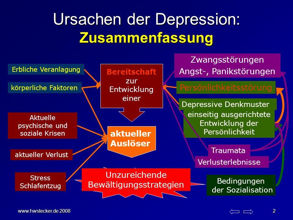 www.hwstecker.de 2008 2 Ursachen der Depression: Zusammenfassung Erbliche Veranlagung Traumata körperliche Faktoren einseitig ausgerichtete Entwicklun