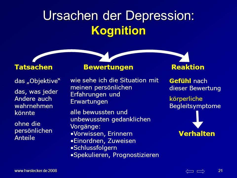 www.hwstecker.de 2008 21 Ursachen der Depression: Kognition TatsachenBewertungenReaktion wie sehe ich die Situation mit meinen persönlichen Erfahrunge