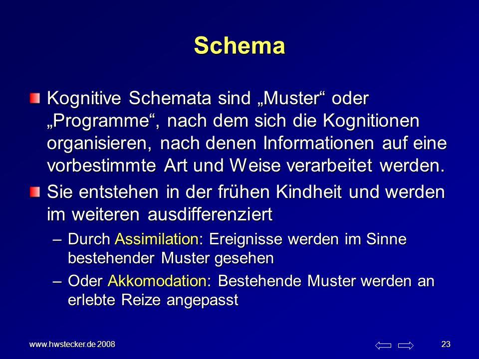 www.hwstecker.de 2008 23 Schema Kognitive Schemata sind Muster oder Programme, nach dem sich die Kognitionen organisieren, nach denen Informationen au