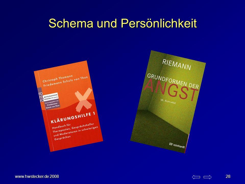 www.hwstecker.de 2008 28 Schema und Persönlichkeit