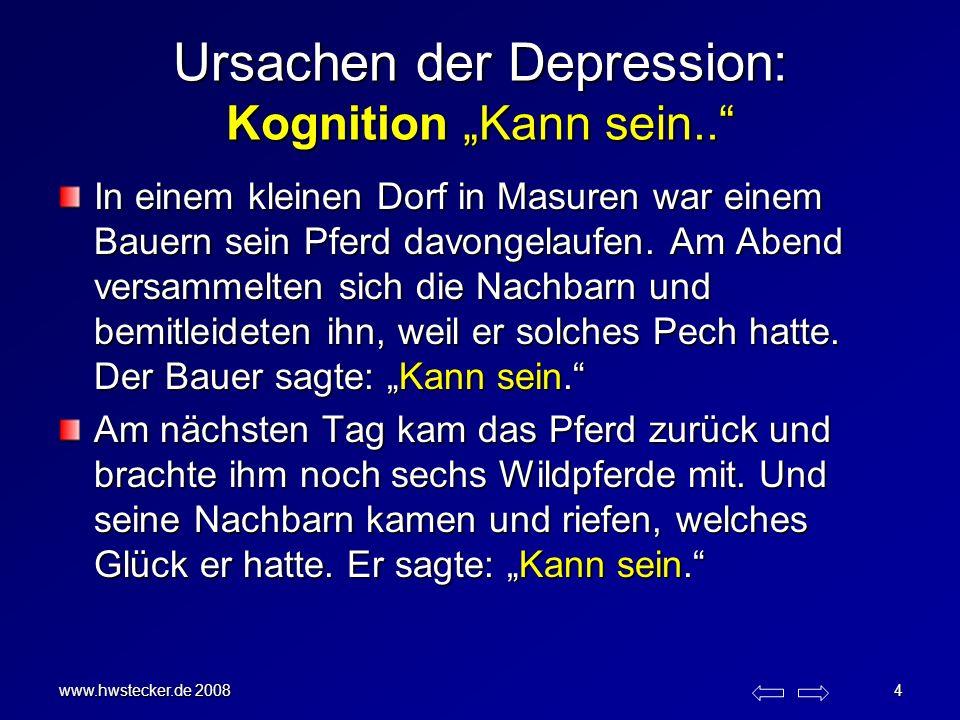 www.hwstecker.de 2008 4 Ursachen der Depression: Kognition Kann sein.. In einem kleinen Dorf in Masuren war einem Bauern sein Pferd davongelaufen. Am