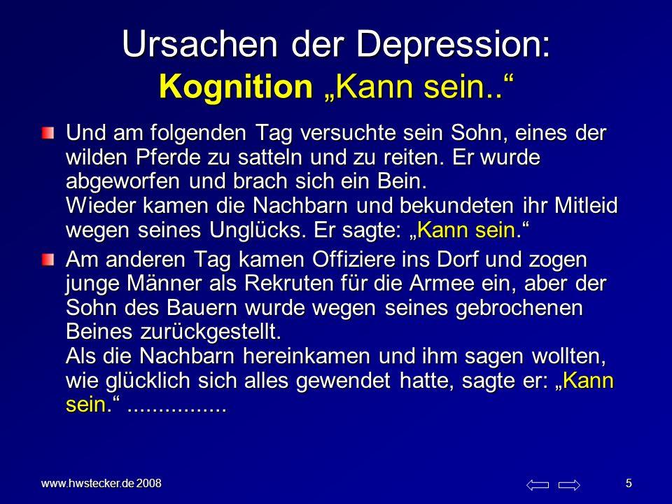 www.hwstecker.de 2008 5 Ursachen der Depression: Kognition Kann sein.. Und am folgenden Tag versuchte sein Sohn, eines der wilden Pferde zu satteln un