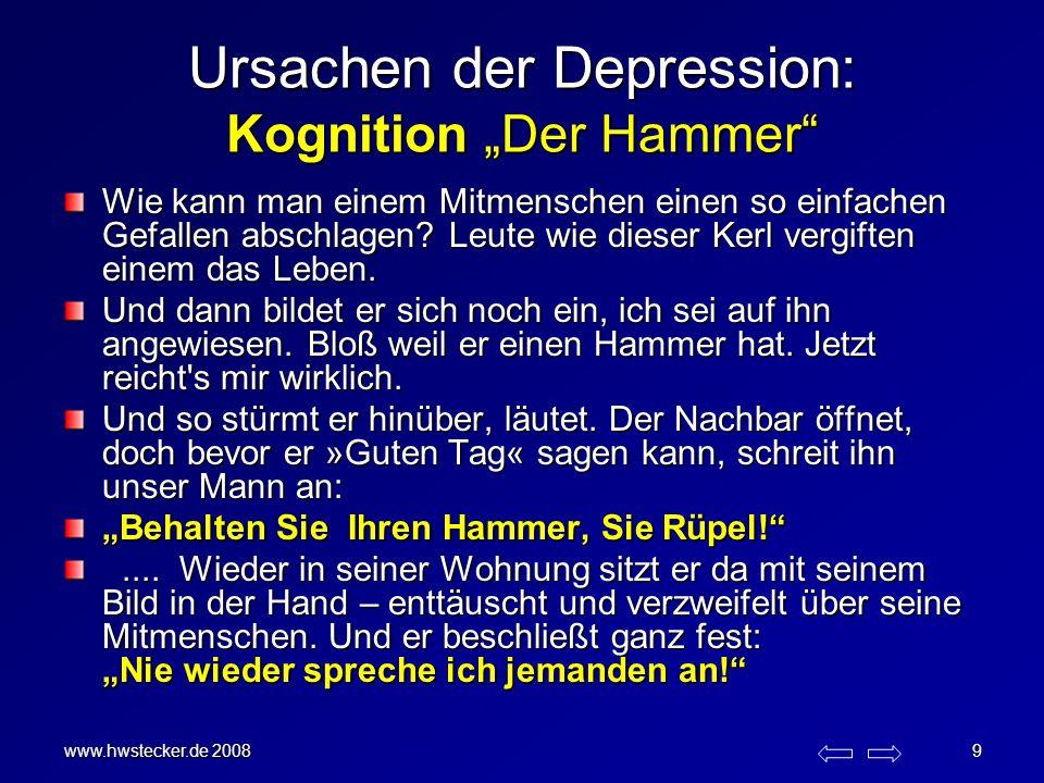 www.hwstecker.de 2008 9 Ursachen der Depression: Kognition Der Hammer Wie kann man einem Mitmenschen einen so einfachen Gefallen abschlagen? Leute wie