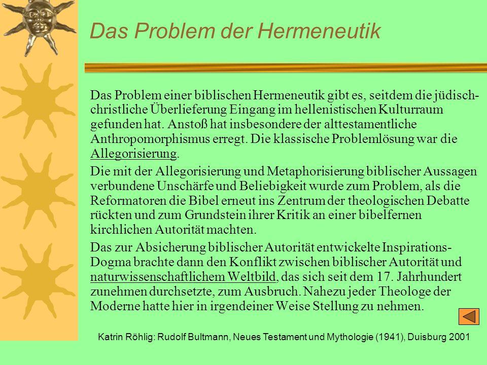 Katrin Röhlig: Rudolf Bultmann, Neues Testament und Mythologie (1941), Duisburg 2001 Das Problem der Hermeneutik Das Problem einer biblischen Hermeneu