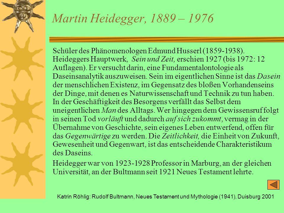 Katrin Röhlig: Rudolf Bultmann, Neues Testament und Mythologie (1941), Duisburg 2001 Martin Heidegger, 1889 – 1976 Schüler des Phänomenologen Edmund H