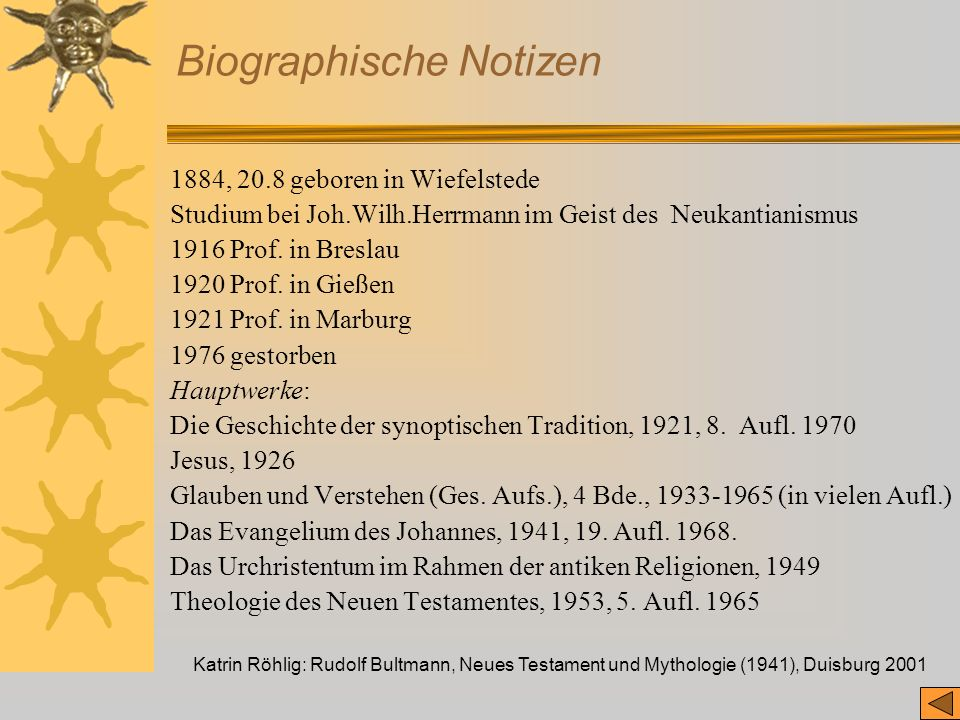 Katrin Röhlig: Rudolf Bultmann, Neues Testament und Mythologie (1941), Duisburg 2001 Biographische Notizen 1884, 20.8 geboren in Wiefelstede Studium b