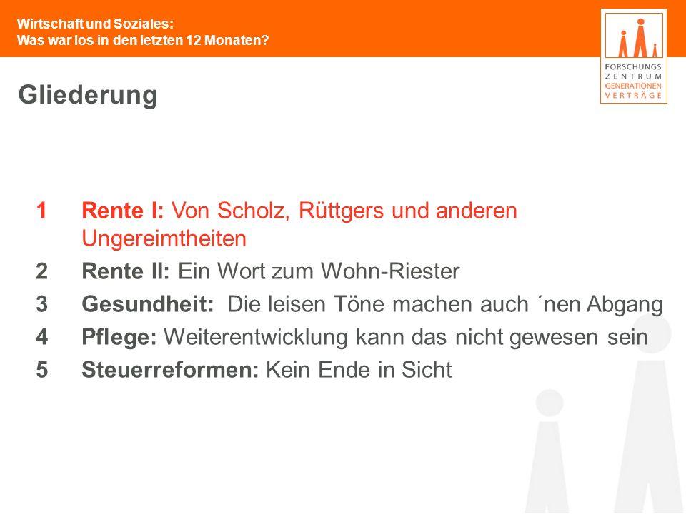 Wirtschaft und Soziales: Was war los in den letzten 12 Monaten? 1Rente I: Von Scholz, Rüttgers und anderen Ungereimtheiten 2Rente II: Ein Wort zum Woh