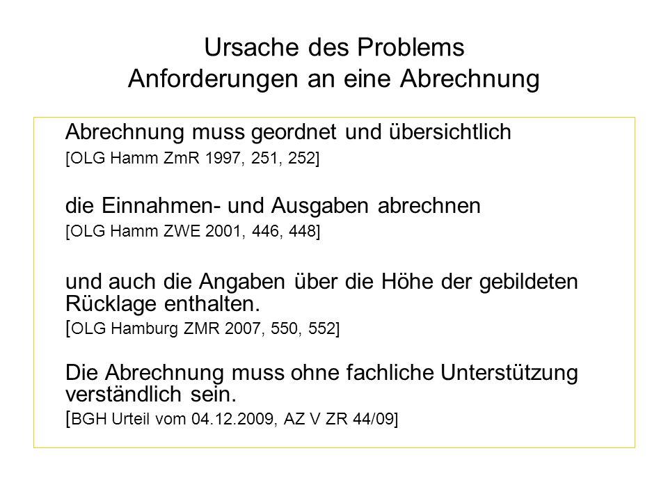 Ursache des Problems Anforderungen an eine Abrechnung Abrechnung muss geordnet und übersichtlich [OLG Hamm ZmR 1997, 251, 252] die Einnahmen- und Ausg