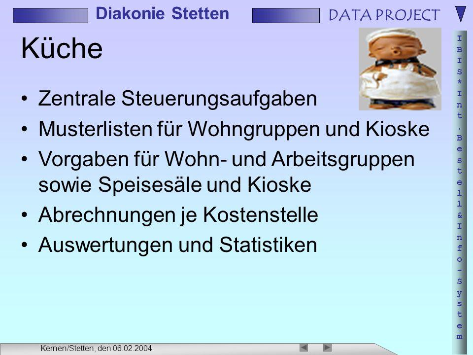 DATA PROJECT IBIS*Int.Bestell&Info-SystemIBIS*Int.Bestell&Info-System Diakonie Stetten Kernen/Stetten, den 06.02.2004 Küche Zentrale Steuerungsaufgabe